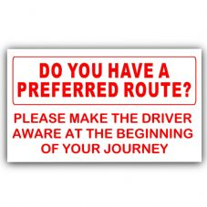 1 x Do You Have a Preferred Route-Red on White-Taxi,Minicab,Minibus Sticker-Information Vinyl Sign